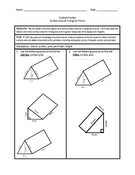 Surface Area of Triangular Prisms 2 (Guided Practice)