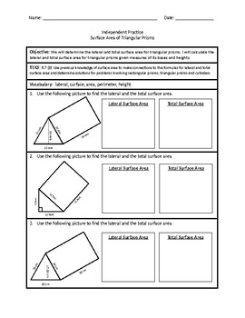 Surface Area of Triangular Prisms (Independent Practice)
