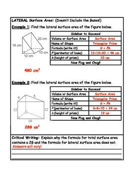 Surface Area of Triangular Prisms Guided Notes Plus Critical Writing