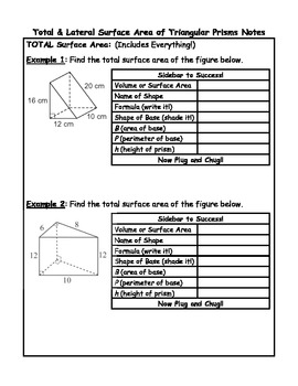 Surface Area of Triangular Prisms Guided Notes Plus Critic