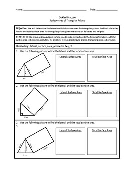 Surface Area of Triangular Prisms (Guided Practice)