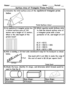 surface area of triangular prisms word problem practice plus spiral review. Black Bedroom Furniture Sets. Home Design Ideas