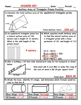 Surface Area of Triangular Prisms Word Problem Practice Plus Spiral Review