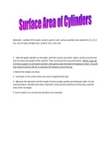 Surface Area of a Cylinder Activity