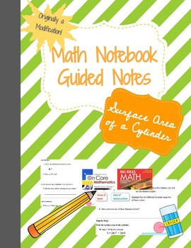 Math Notebook: Surface Area of a Cylinder - Guided Notes/ Modification