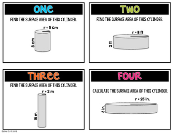 Surface Area of a Cylinder Task Cards 8.G.9