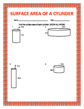 Surface Area of a Cylinder w/ Answer Key
