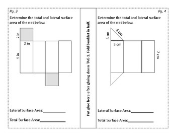 Surface Area of a Net Foldable/Graphic Organizer