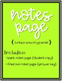 Surface Area of a Pyramid Notes Page