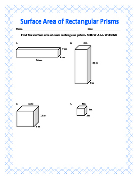 Surface Area of a Rectangular Prism w/ Answer Key