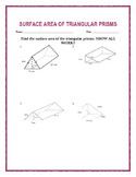 Surface Area of a Triangular Prism w/ Answer Key