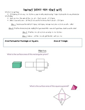 Surface Area using Nets Notes and Practice