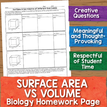 Surface Area vs Volume Biology Homework Worksheet