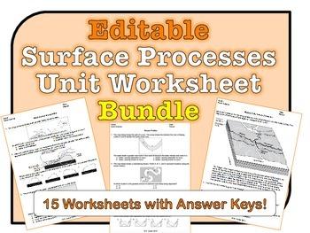 Surface Processes Worksheets *EDITABLE BUNDLE*