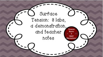 Surface Tension:  3 Labs, a Demonstration, and Teacher Notes