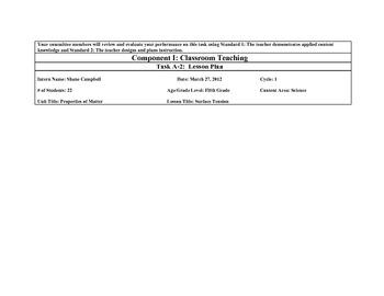Surface Tension 5th Grade KTIP lesson plan