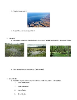 Surface Water and Ground water Worksheet