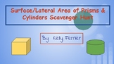 Surface and Lateral Area of Prisms & Cylinders Scavenger Hunt
