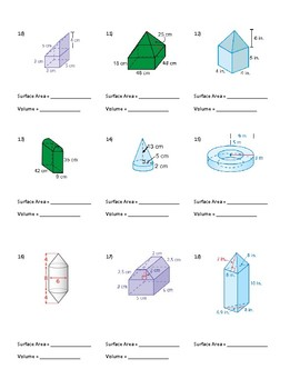 surface area and volume of composite figures worksheet with quizzes and keys - Volume Of Composite Figures Worksheet