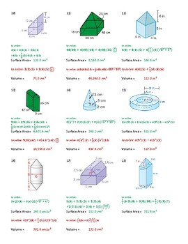 Surface area and Volume of composite Figures Worksheet with quizzes ...