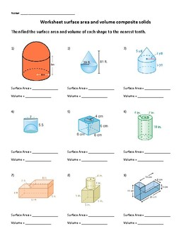 Surface area and Volume of composite Figures Worksheet with quizzes and keys