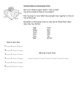 Surface Area Journal Resource