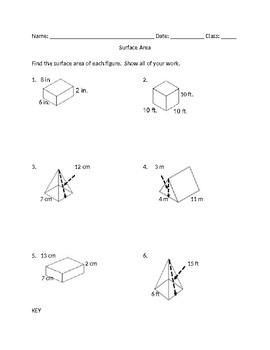 Surface area of rectangular prisms, triangular prisms, rectangular pyramids