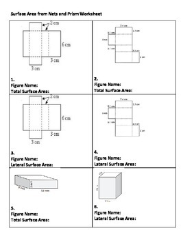Surface area worksheet - Total and Lateral of rectangular prism by Zetta
