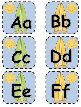 Alphabet Matching Cards ~ Surfboard/Ocean