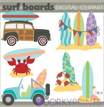 Surfboard Beach Summer Clip Art