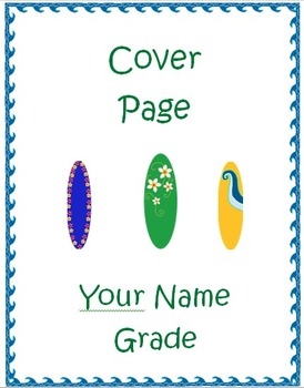 Surfboard Beach Theme Collection (Cover Sheets and Sticker Charts)