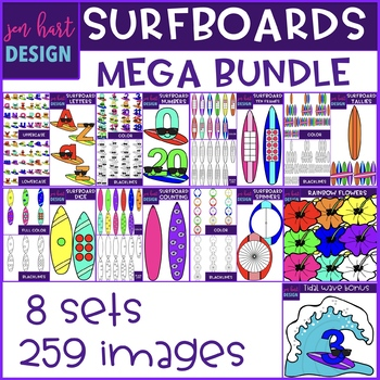 Surfboard Clip Art - Surfboard Mega BUNDLE {jen hart Clip Art}