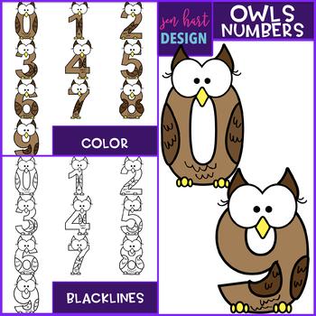 Numbers Clip Art - Owl Numbers 0-9 {jen hart Clip Art}