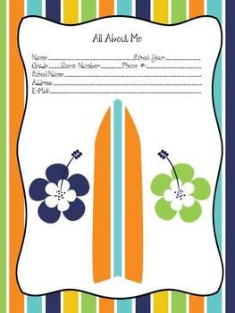 Surfboard Themed Teacher Planner/Binder