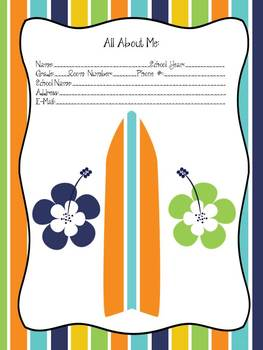 Surfboard Themed Teacher Planner/Binder
