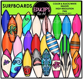 Surfboards Clip Art Bundle {Educlips Clipart}