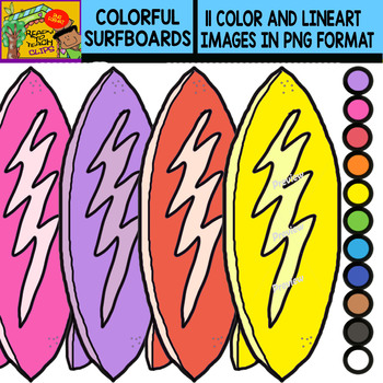 Surfboards - Colorful Cliparts Set - 11 Items