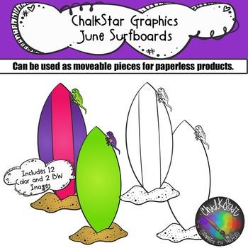 Surfboards June Clip Art –Chalkstar Graphics