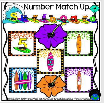 Surfboards Numbers Match Up Math Center