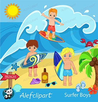 Surfer Boys Clipart - Clip Art