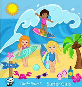 Surfer Girls Clipart -  Summer holidays Clip Art