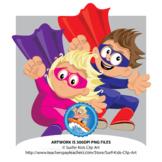 Surfer Kids - Super Heroes Clip Art