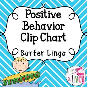 Positive Behavior Clip Chart - EDITABLE (Surfer Lingo)