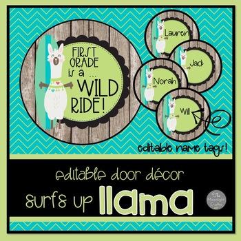 Surfer Llama EDITABLE Door Decor or Bulletin Board Decor