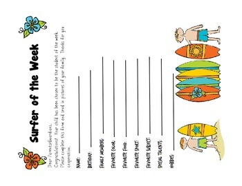 Surfer Themed Student of the Week