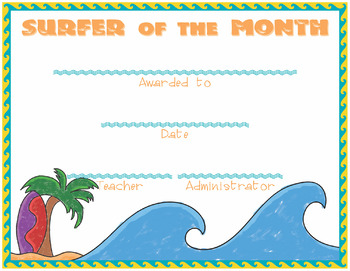 Surfer of the Month Award Certificate