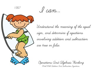 Surfers Theme 1st grade math Common Core Posters first Grade Standards