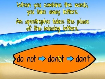 Contractions Lesson & Contraction Activities-Surfin' Contractions