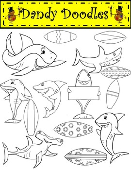 Surfin' Sharks Brights Clip Art by Dandy Doodles