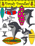Surfin' Sharks Clip Art by Dandy Doodles